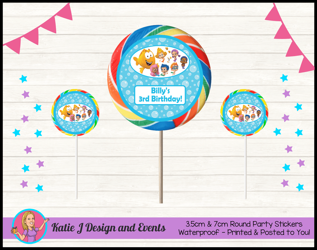 Bubble Guppies Personalised Birthday Party Round Lollipop Stickers