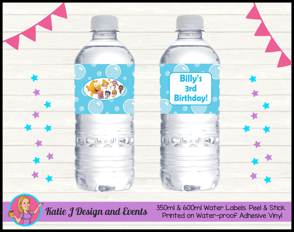 Bubble Guppies Personalised Birthday Party Water Bottle Labels