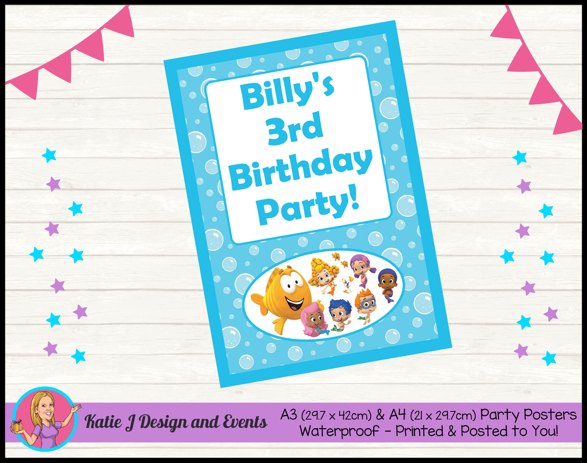 Bubble Guppies Personalised Birthday Party Poster