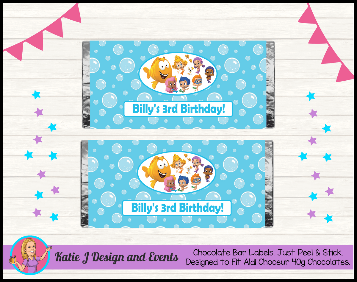 Bubble Guppies Personalised Birthday Party Chocolate Labels Wrappers