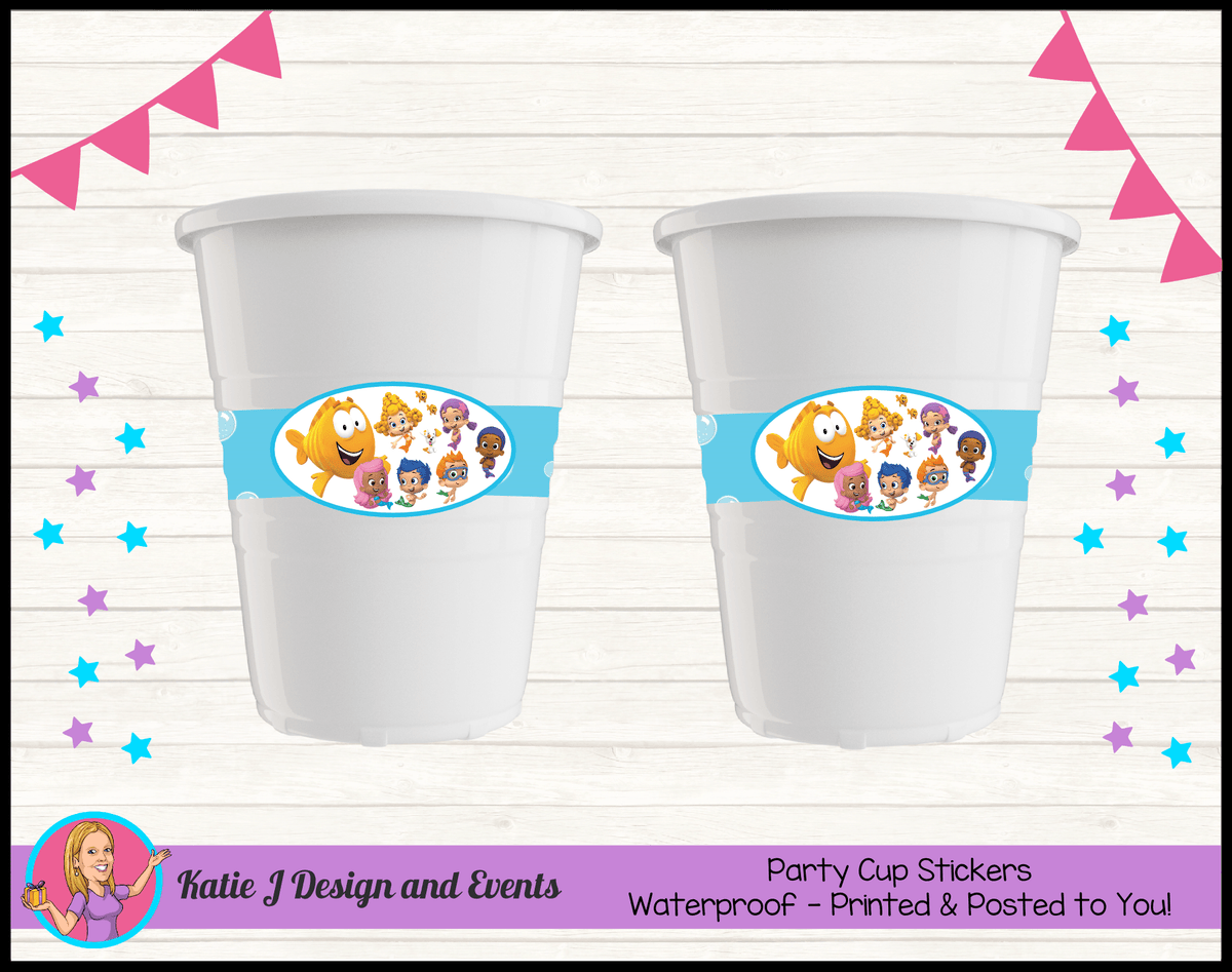 Bubble Guppies Personalised Birthday Party Cup Stickers Cups