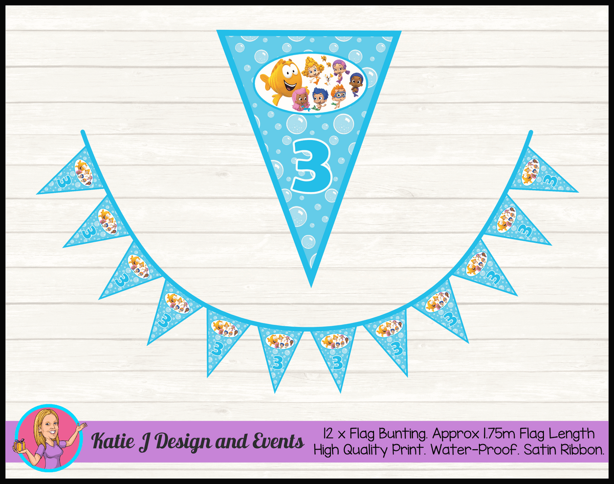 Bubble Guppies Personalised Birthday Party Flag Bunting