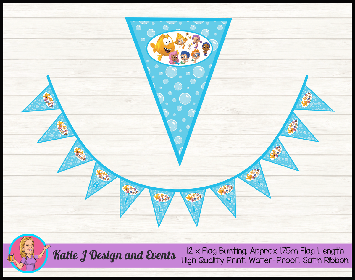 Bubble Guppies Personalised Birthday Party Flag Bunting Name