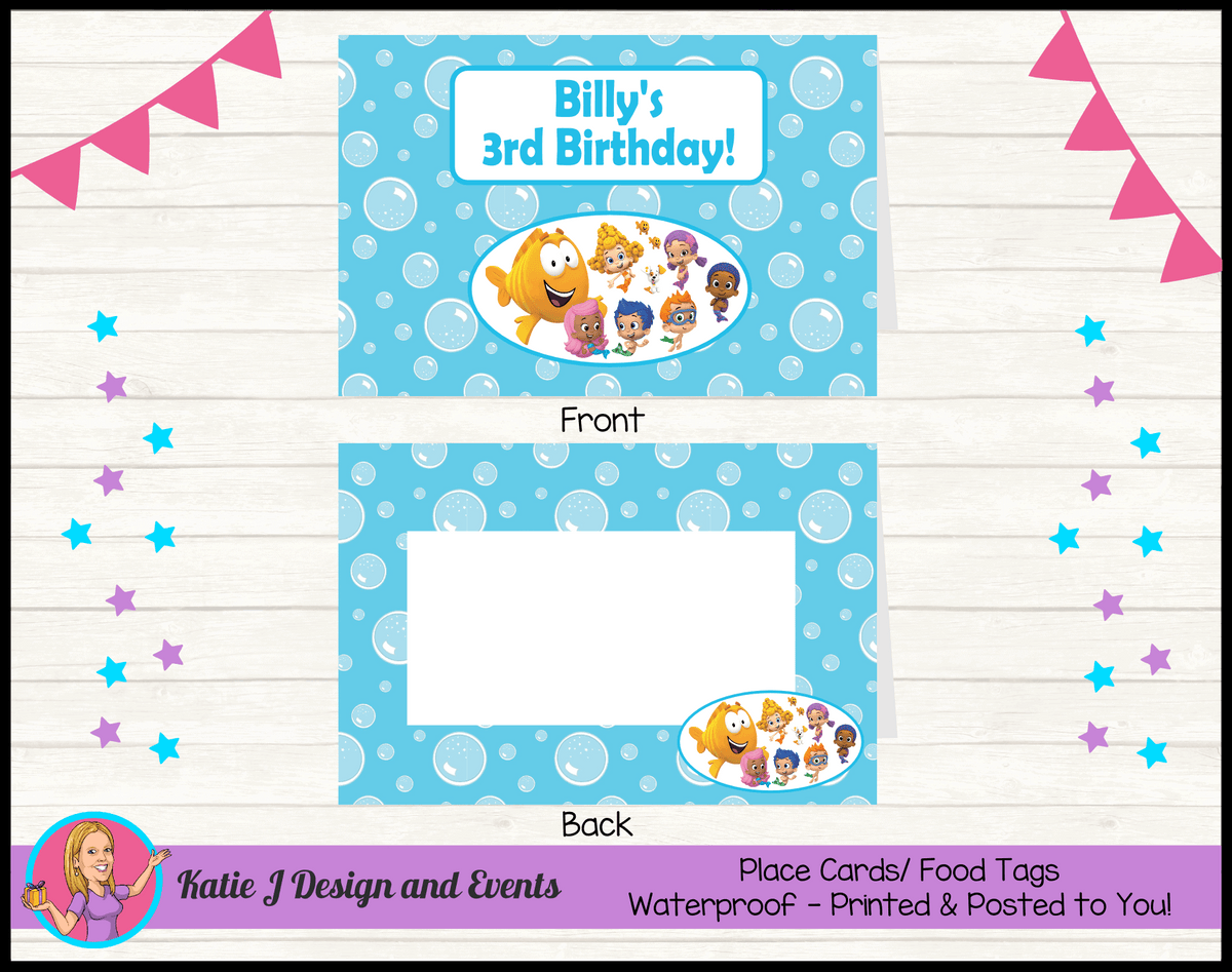 Bubble Guppies Personalised Birthday Party Place Cards
