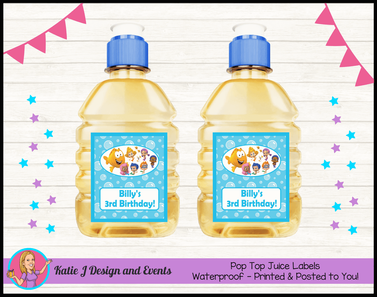 Bubble Guppies Personalised Birthday Party Pop Top Juice Labels