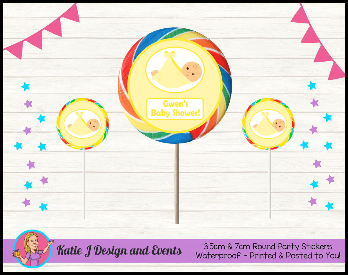 Personalised Yellow Baby Shower Round Lollipop Stickers