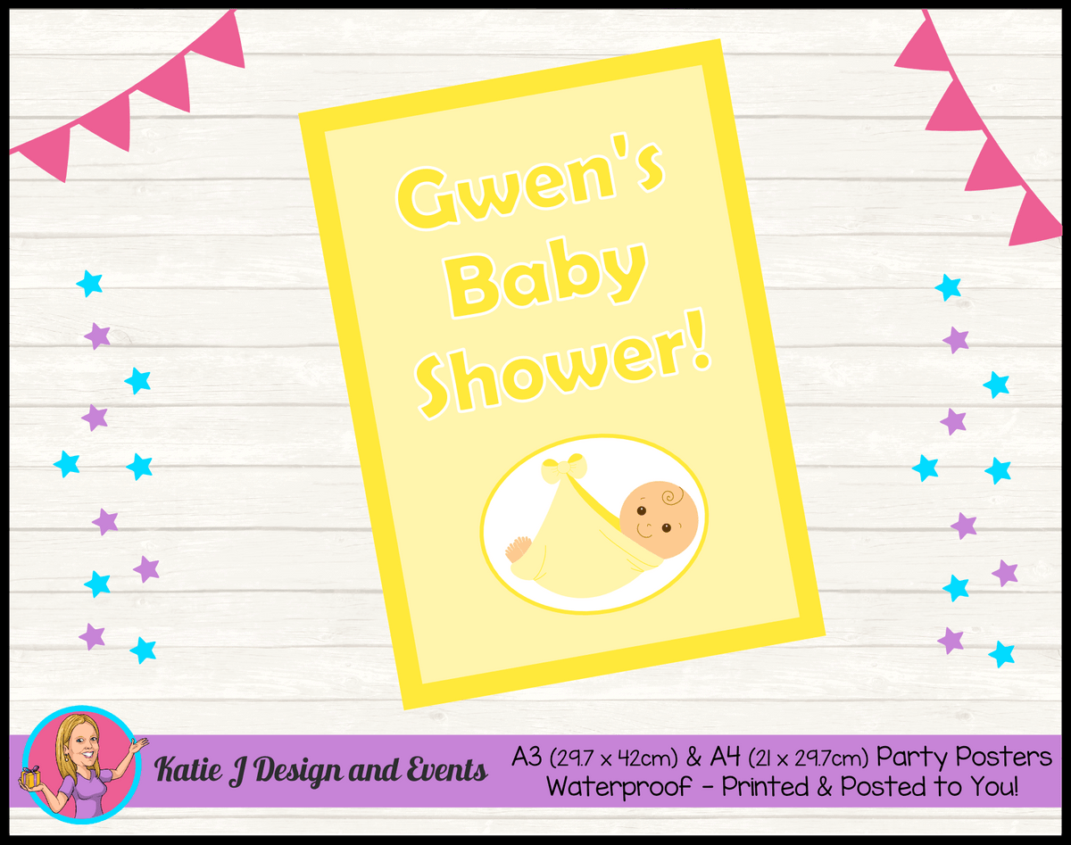 Personalised Yellow Baby Shower Poster