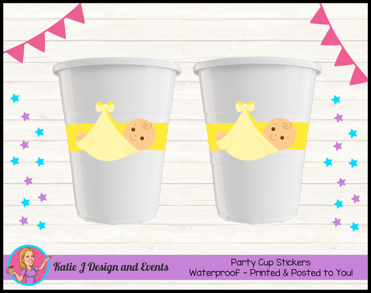 Personalised Yellow Baby Shower Cup Stickers Cups
