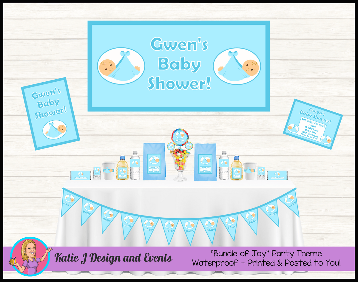 Personalised Blue Baby Shower Packs Decorations Supplies