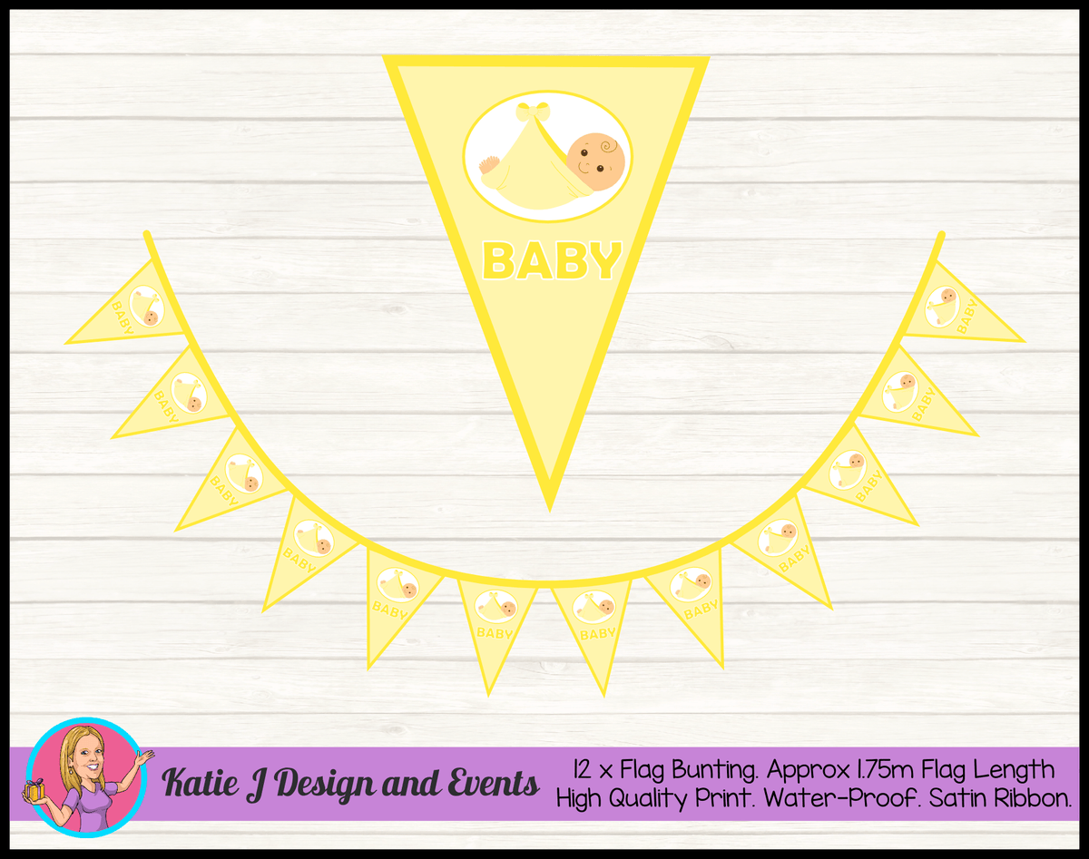 Personalised Yellow Baby Shower Bunting