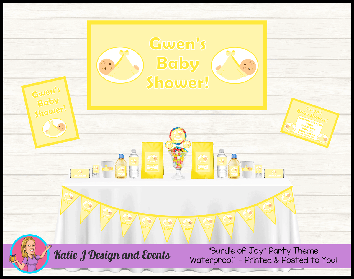 Personalised Yellow Baby Shower Packs Decorations Supplies