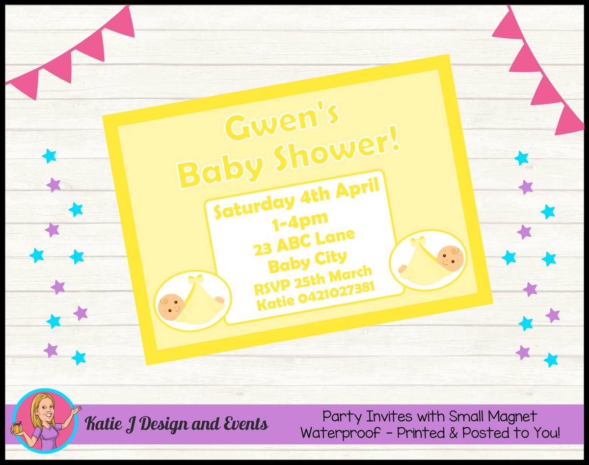 Personalised Yellow Baby Shower Invites Invitations