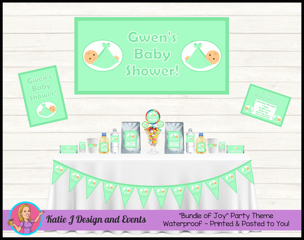 Personalised Green Baby Shower Packs Decorations Supplies