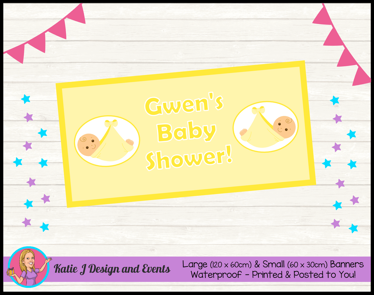 Personalised Yellow Baby Shower Banners