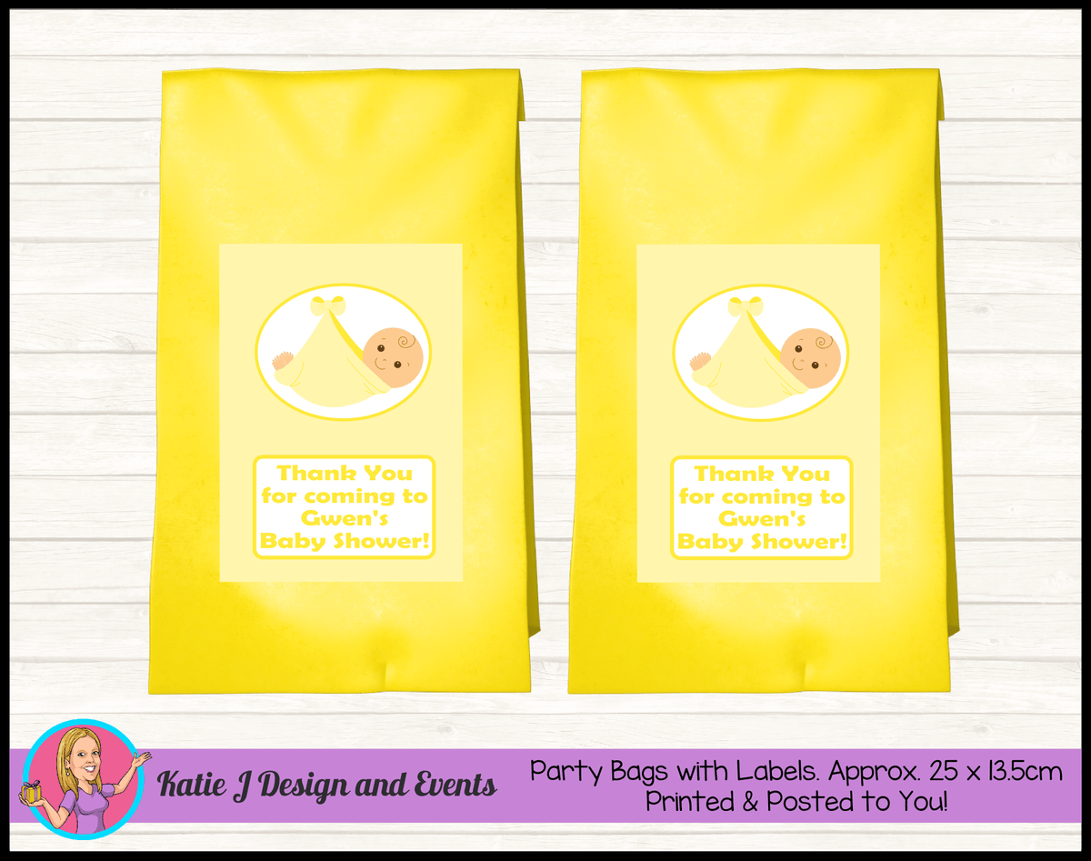 Personalised Yellow Baby Shower Party Loot Bags