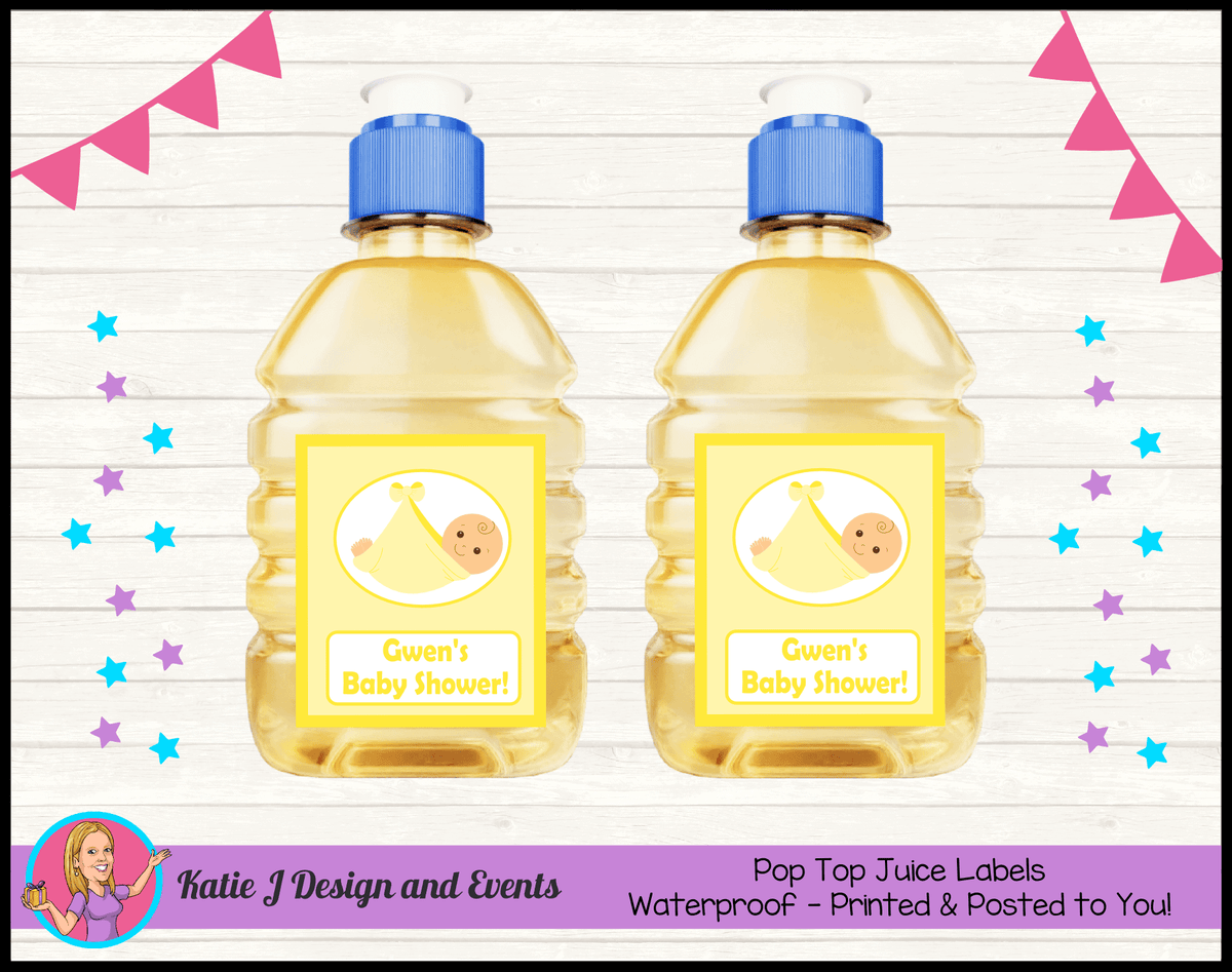 Personalised Yellow Baby Shower Pop Top Juice Labels