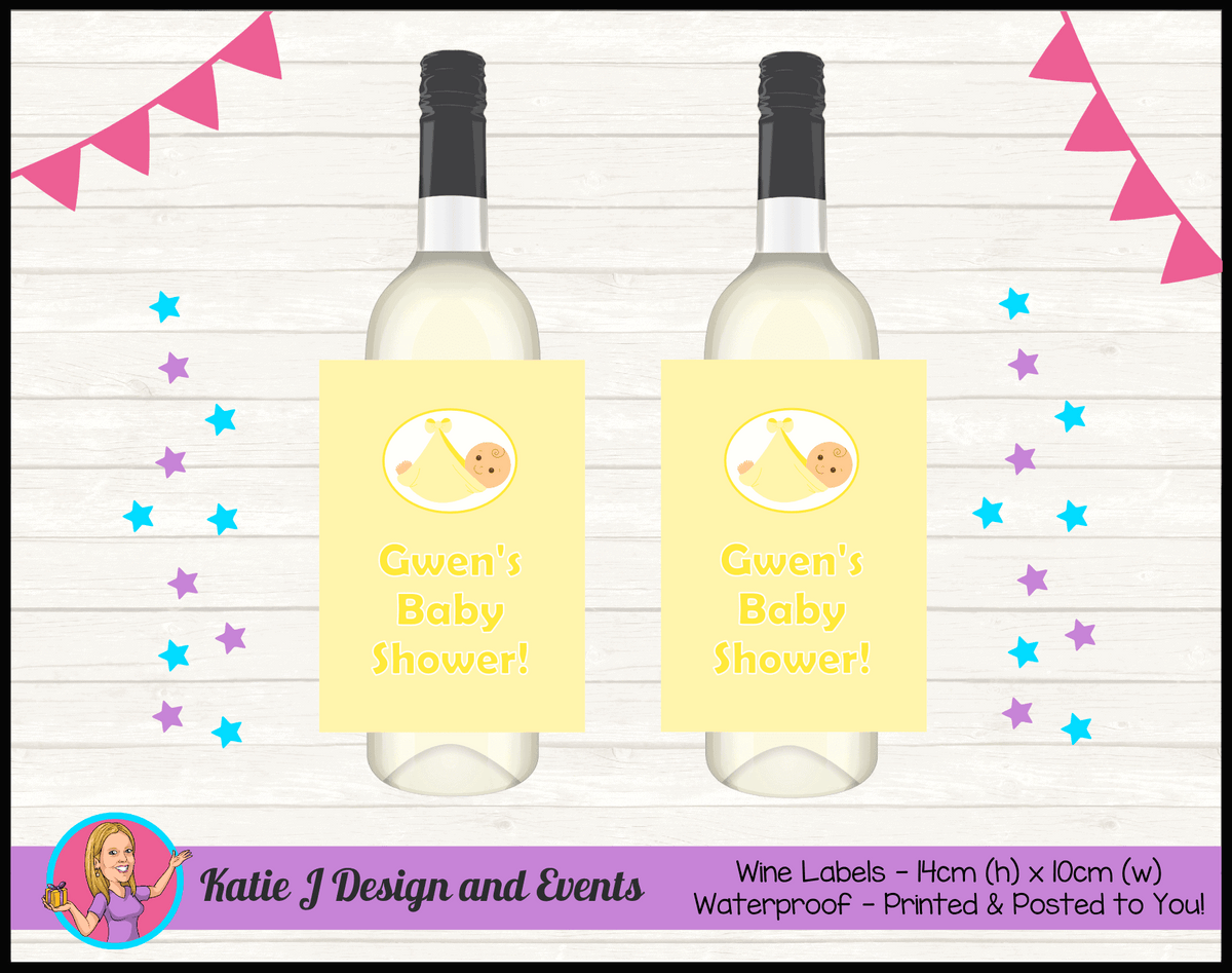 Personalised Yellow Baby Shower Wine Bottle Labels