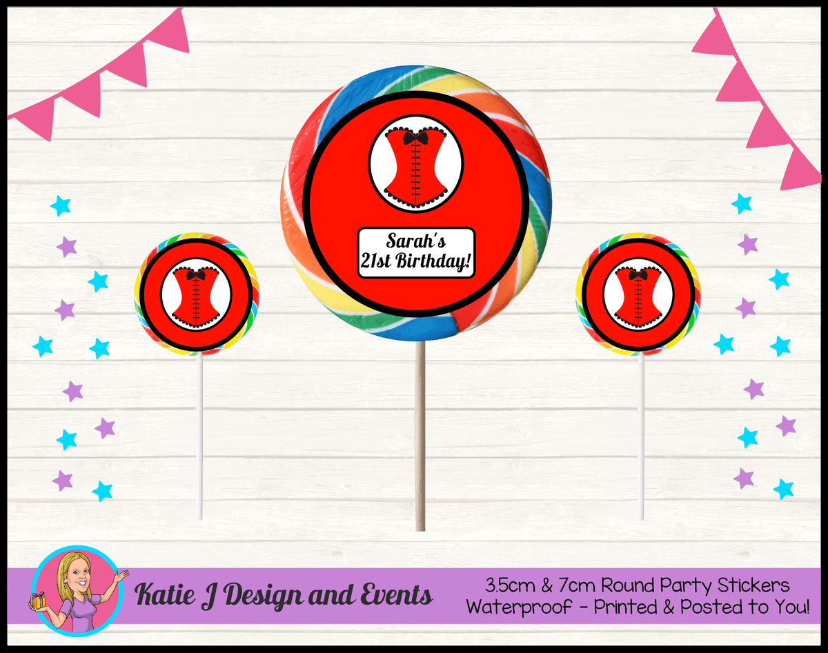 Personalised Red Burlseque Corset Birthday Party Round Lollipop Stickers
