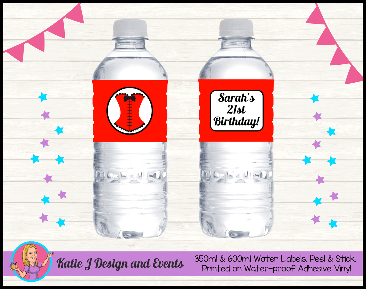 Personalised Red Burlseque Corset Birthday Party Water Bottle Drink Labels