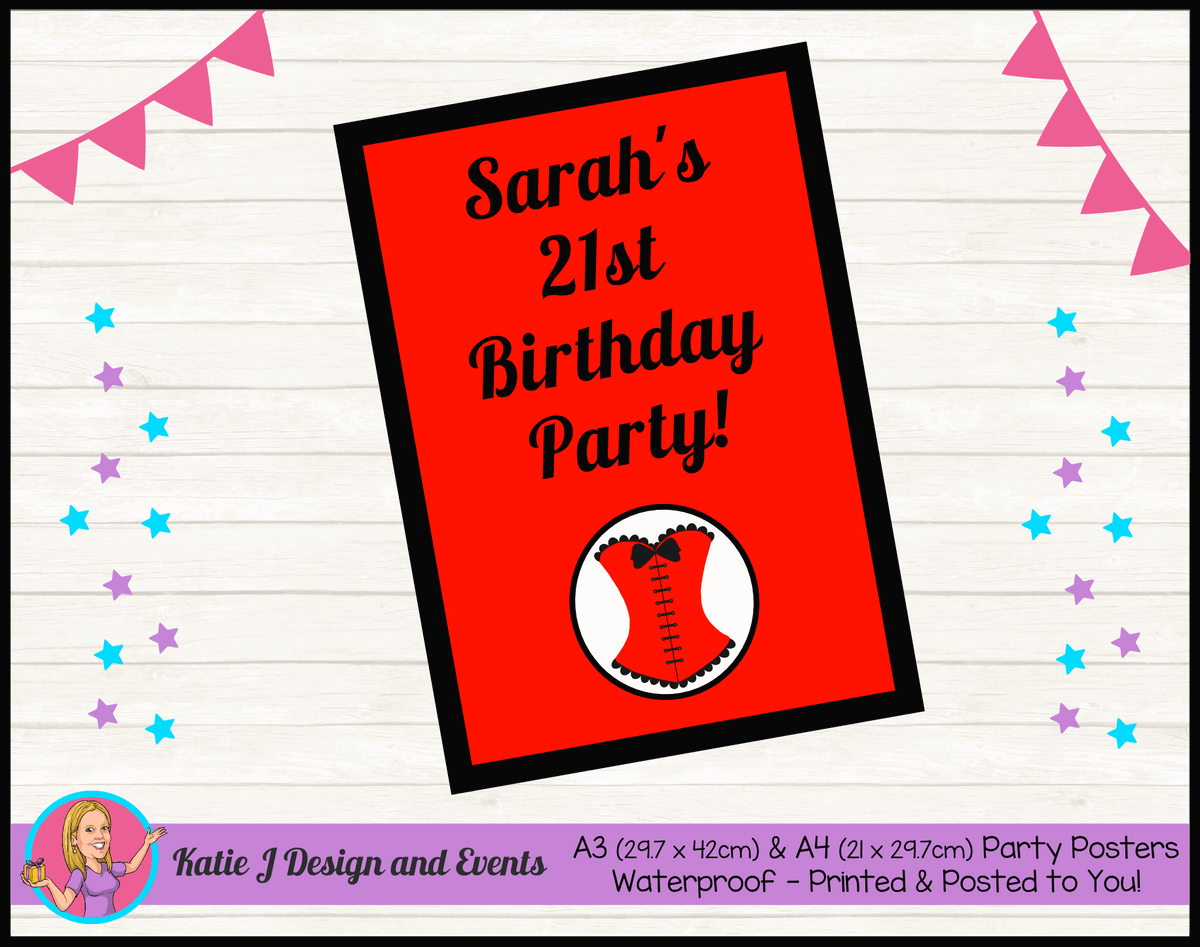 Personalised Red Burlseque Corset Birthday Party Poster