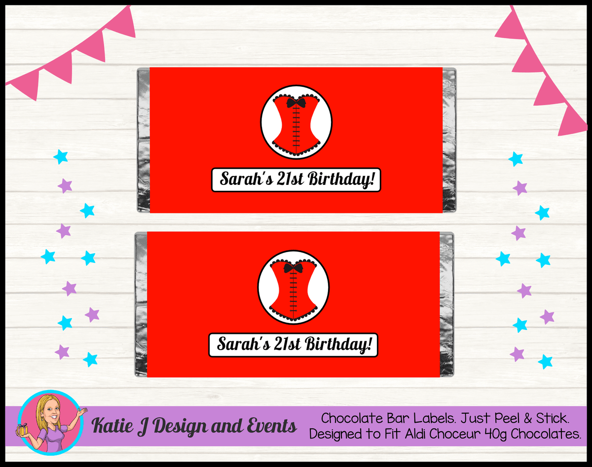 Personalised Red Burlseque Corset Birthday Party Chocolate Bar Labels Wrappers