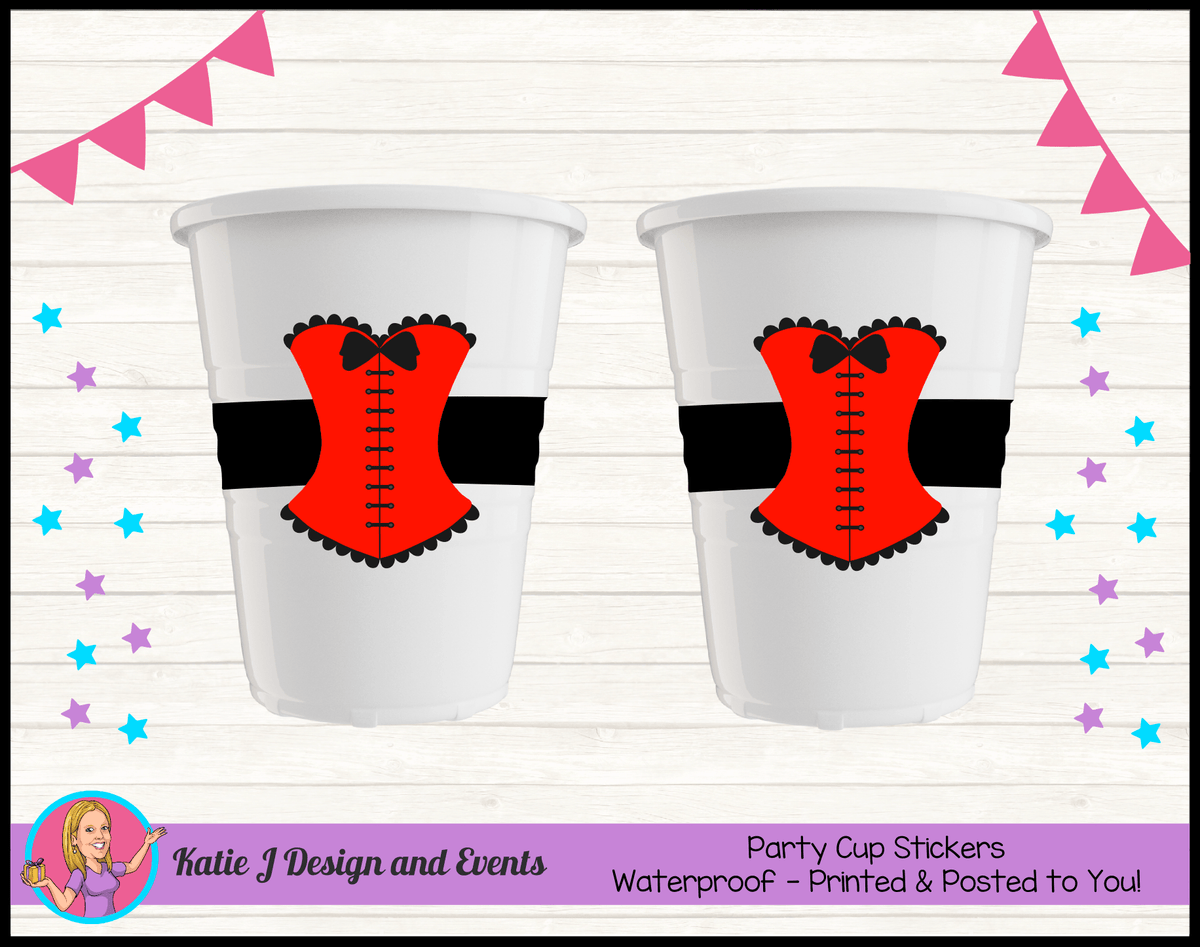 Personalised Red Burlseque Corset Birthday Party Cup Stickers Cups