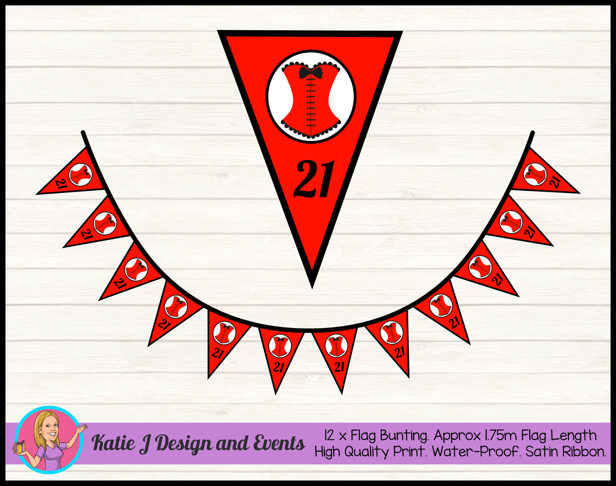 Personalised Red Burlseque Corset Birthday Party Flag Bunting