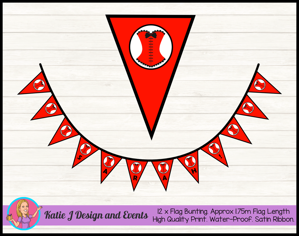 Personalised Red Burlseque Corset Birthday Party Flag Bunting Name