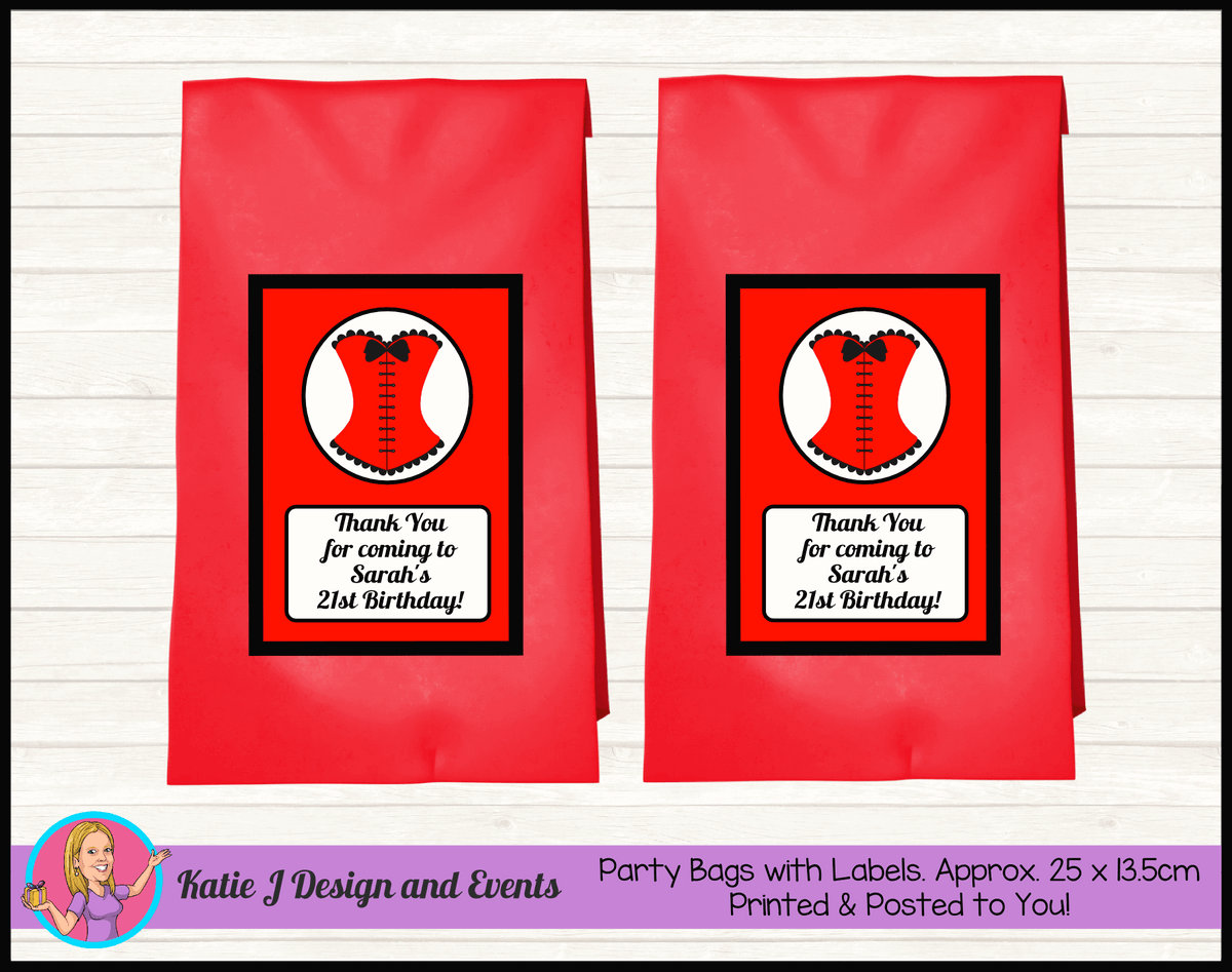 Personalised Red Burlseque Corset Birthday Party Loot Bags