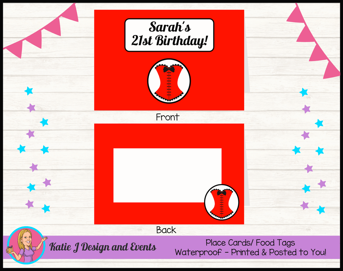 Personalised Red Burlseque Corset Birthday Party Place Cards