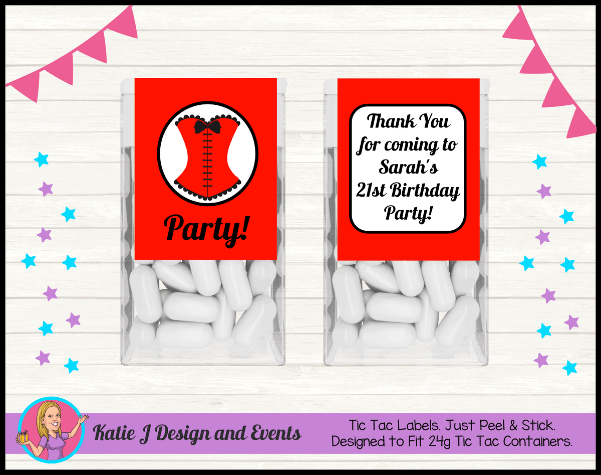 Personalised Red Burlseque Corset Birthday Party Tic Tac Mint Labels favours