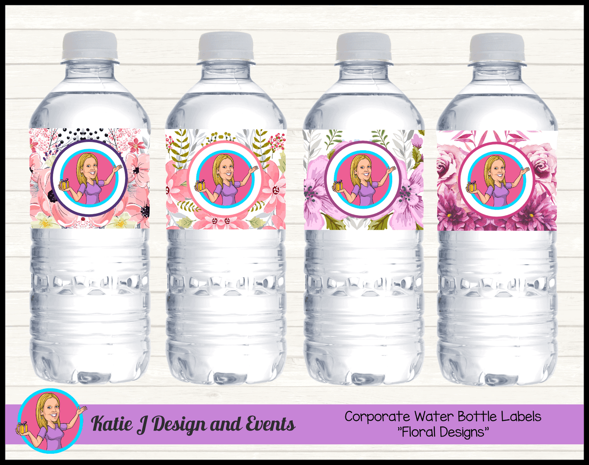 Custom Floral Corporate Business Water Bottle Labels with Logo