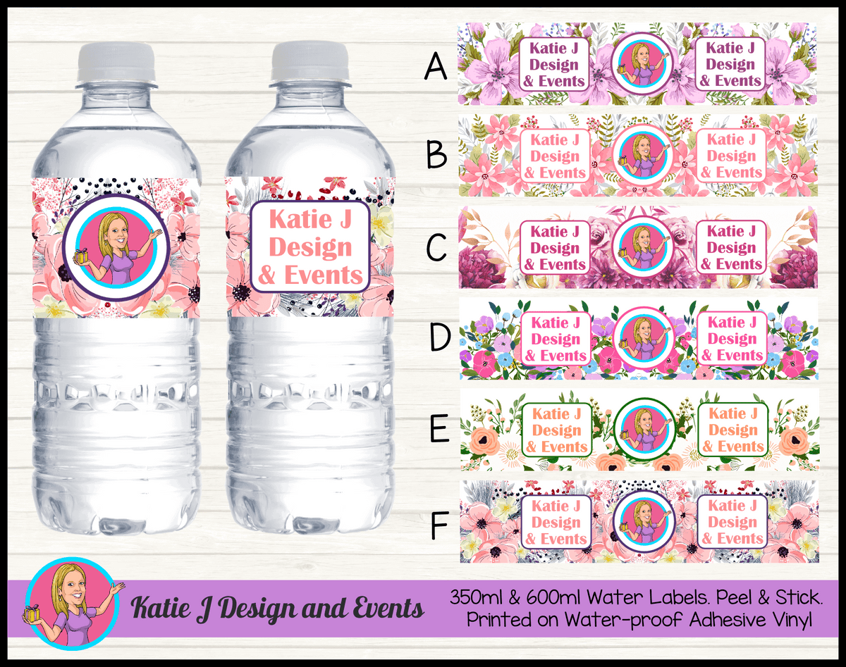 Business Brand Floral Water Labels