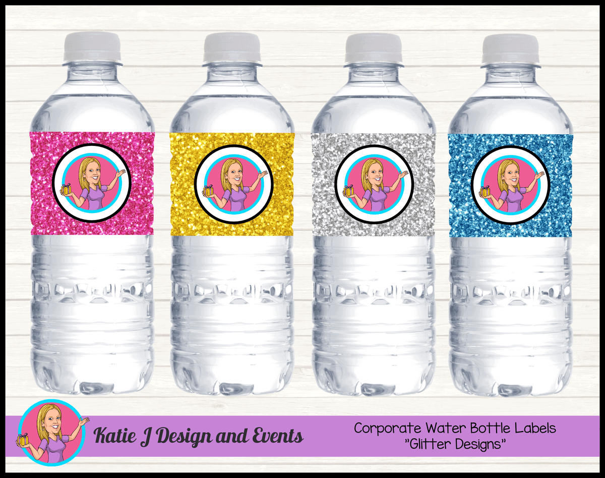 Personalised Glitter Corporate Water Bottle Labels with Logo