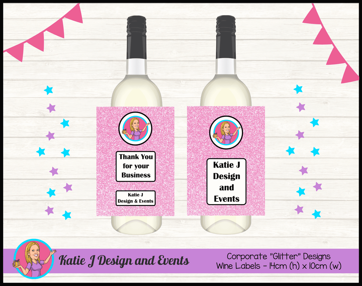 Business Brand Glitter Wine Labels