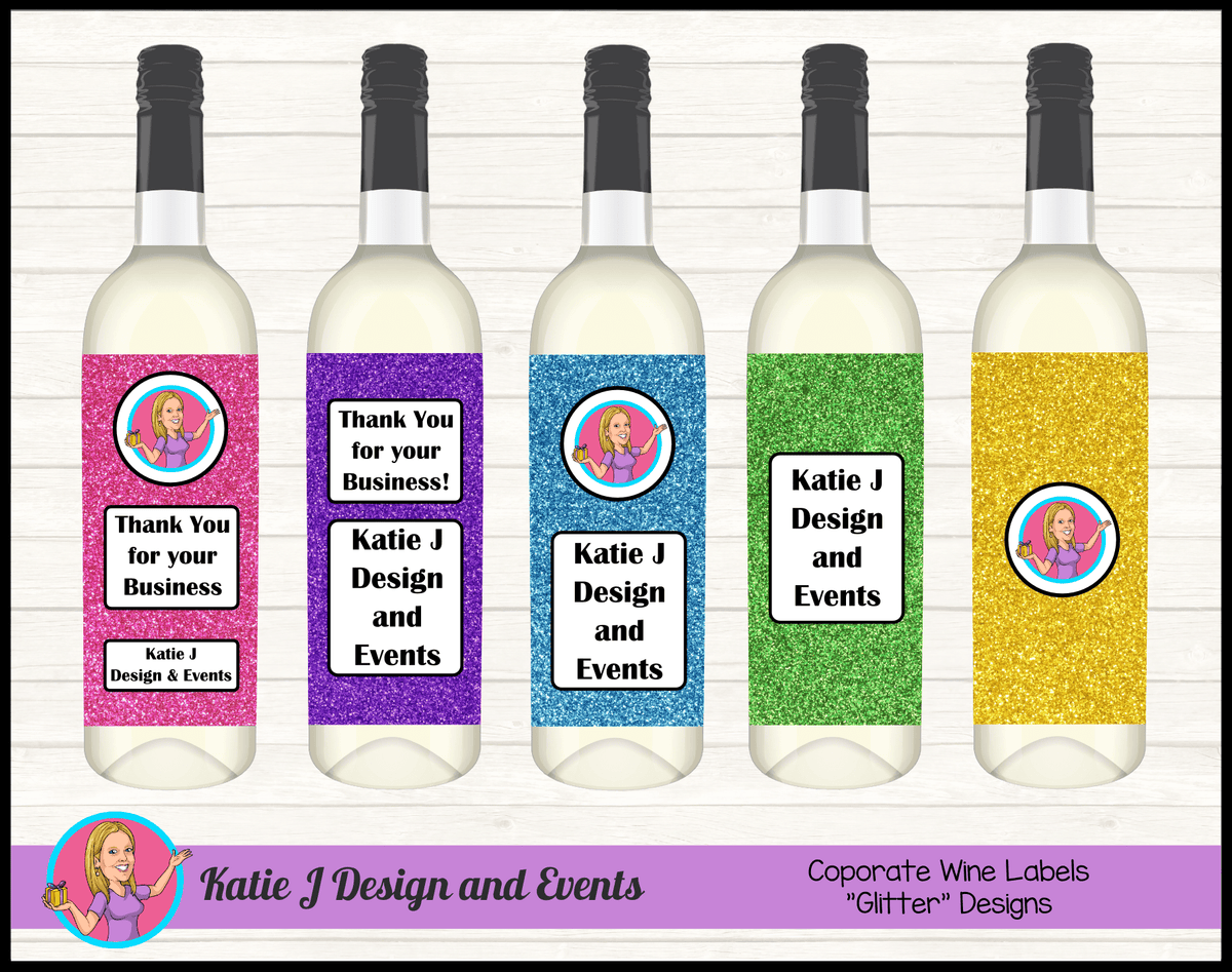 Custom Glitter Corporate Wine Bottle Labels with Logo