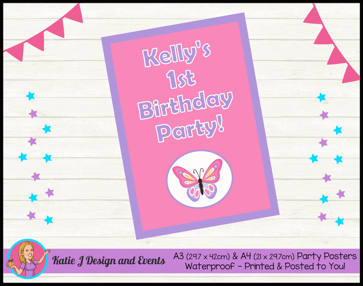 Personalised Butterfly Birthday Party Poster