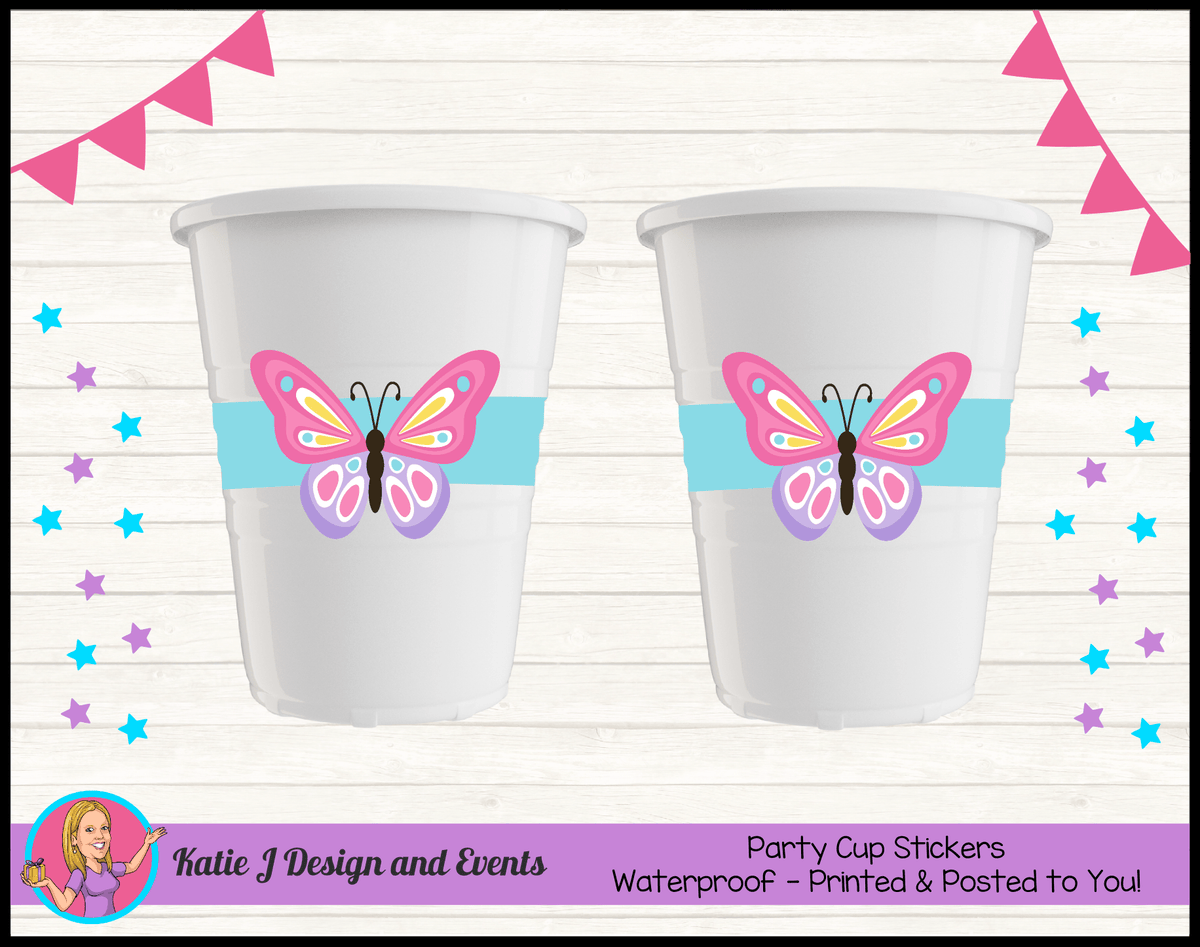 Personalised Butterfly Birthday Party Cup Stickers Cups