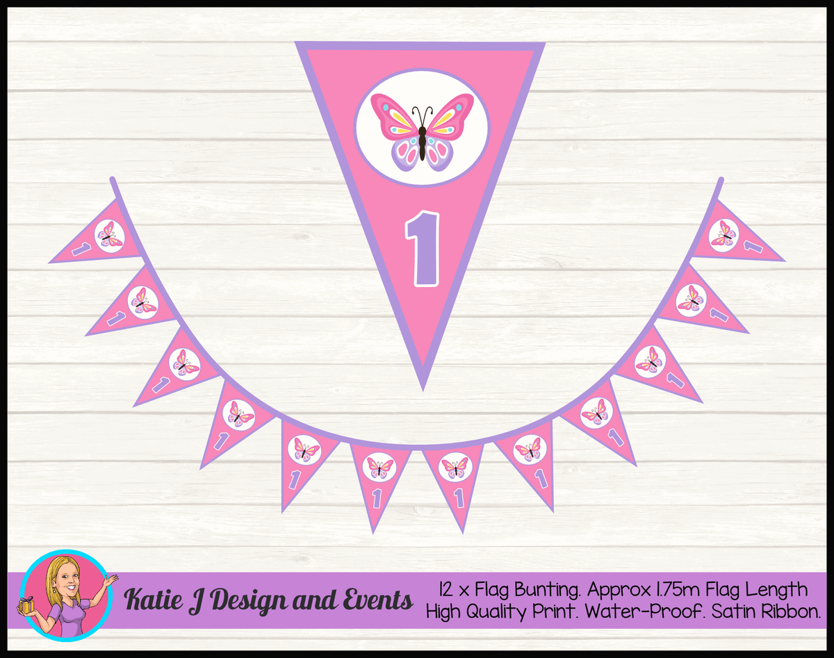 Personalised Butterfly Birthday Party Flag Bunting
