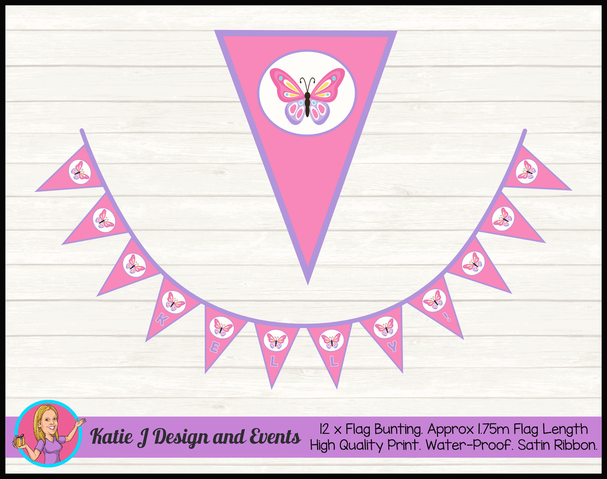 Personalised Butterfly Birthday Party Flag Bunting Name