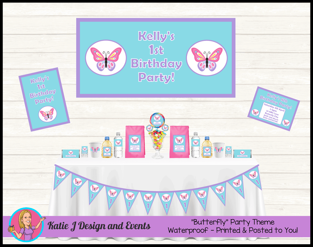Personalised Blue Purple Butterfly Party Packs Decorations Supplies