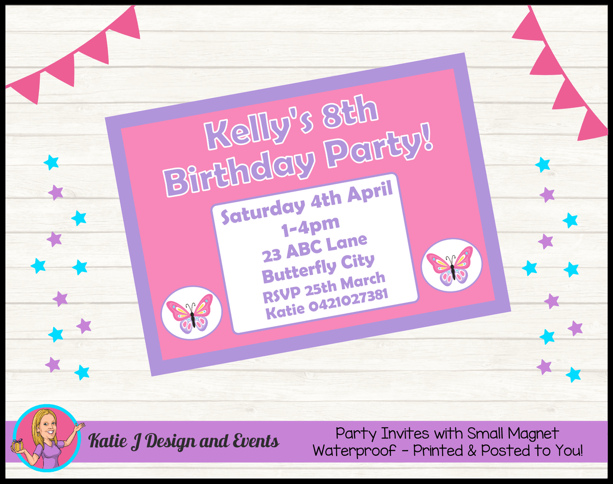 Personalised Butterfly Birthday Party Invites Invitations