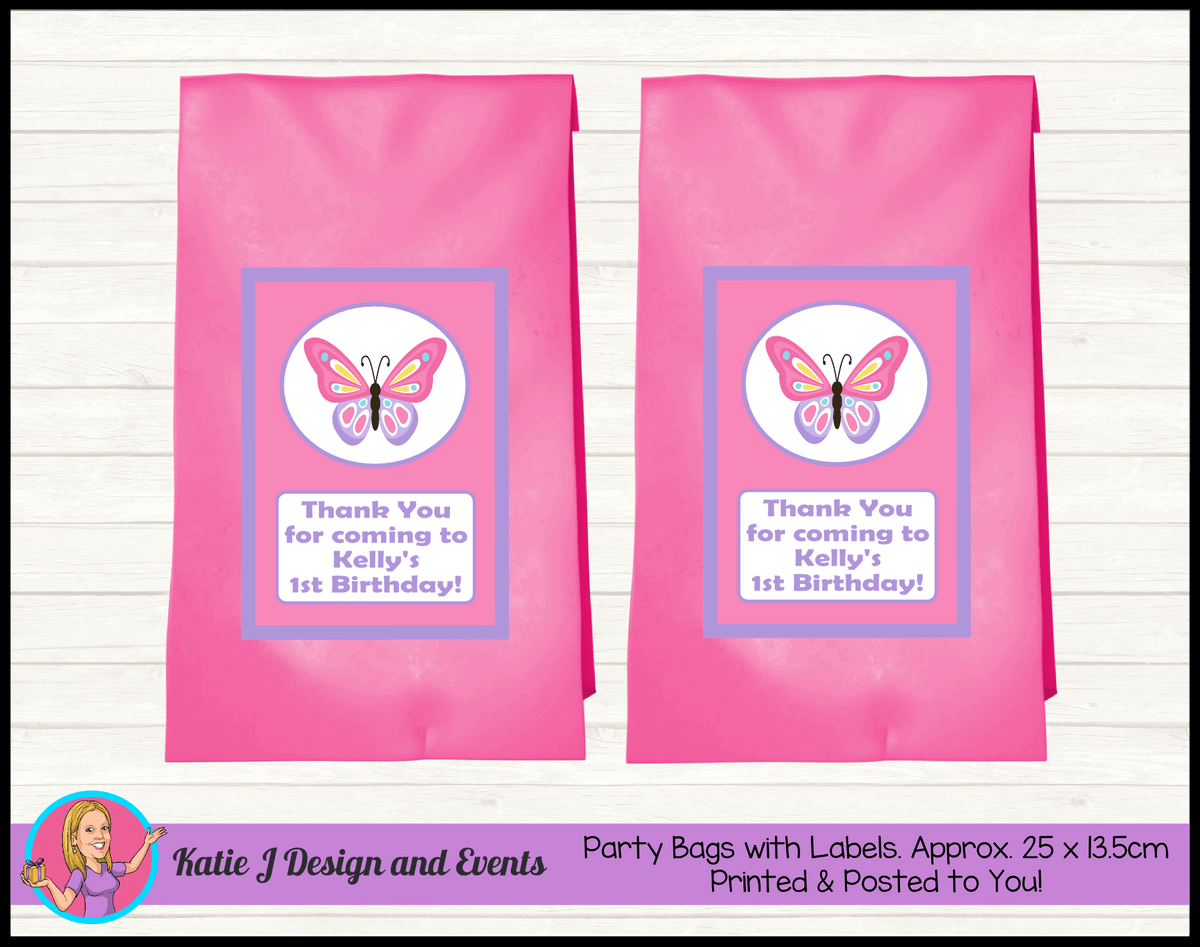 Personalised Butterfly Birthday Party Loot Bags