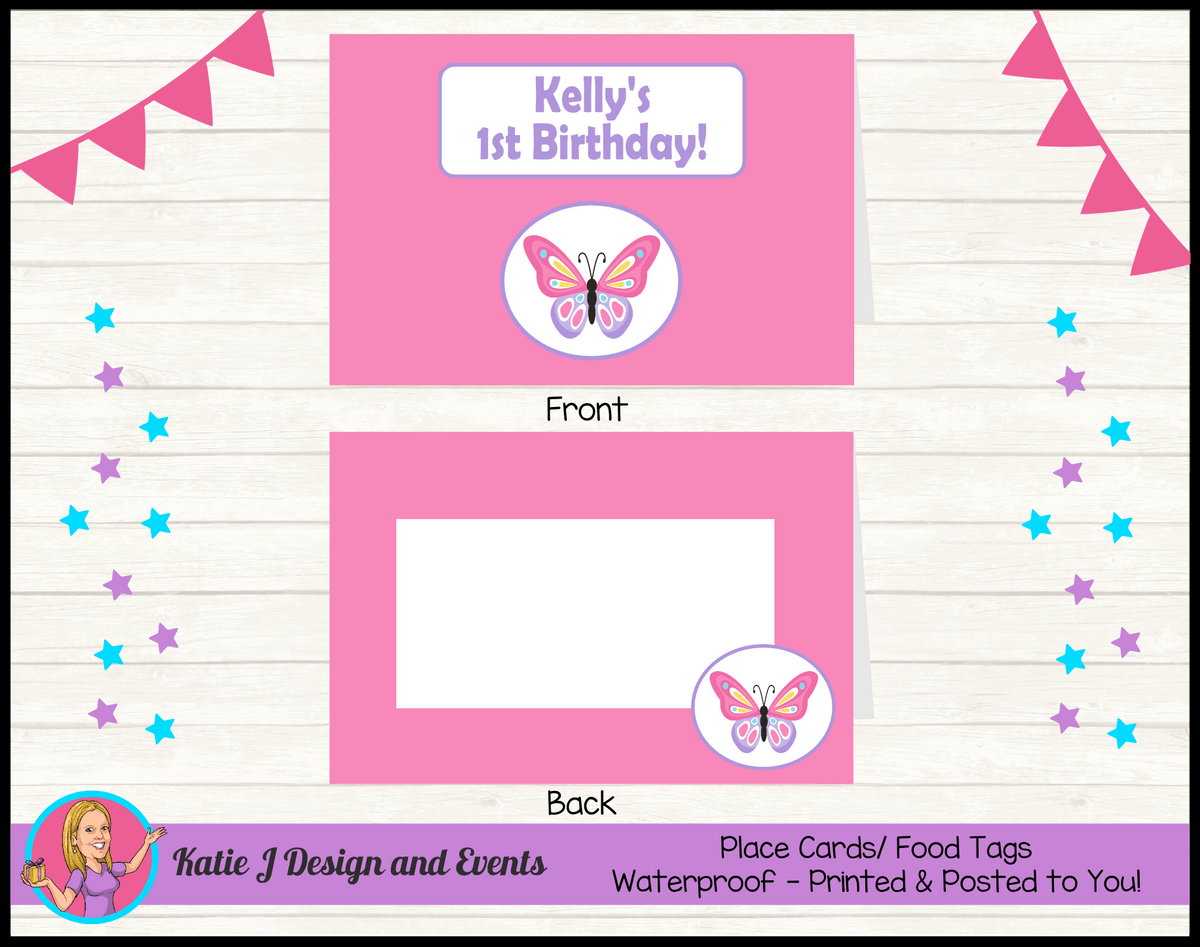 Personalised Butterfly Birthday Party Place Cards