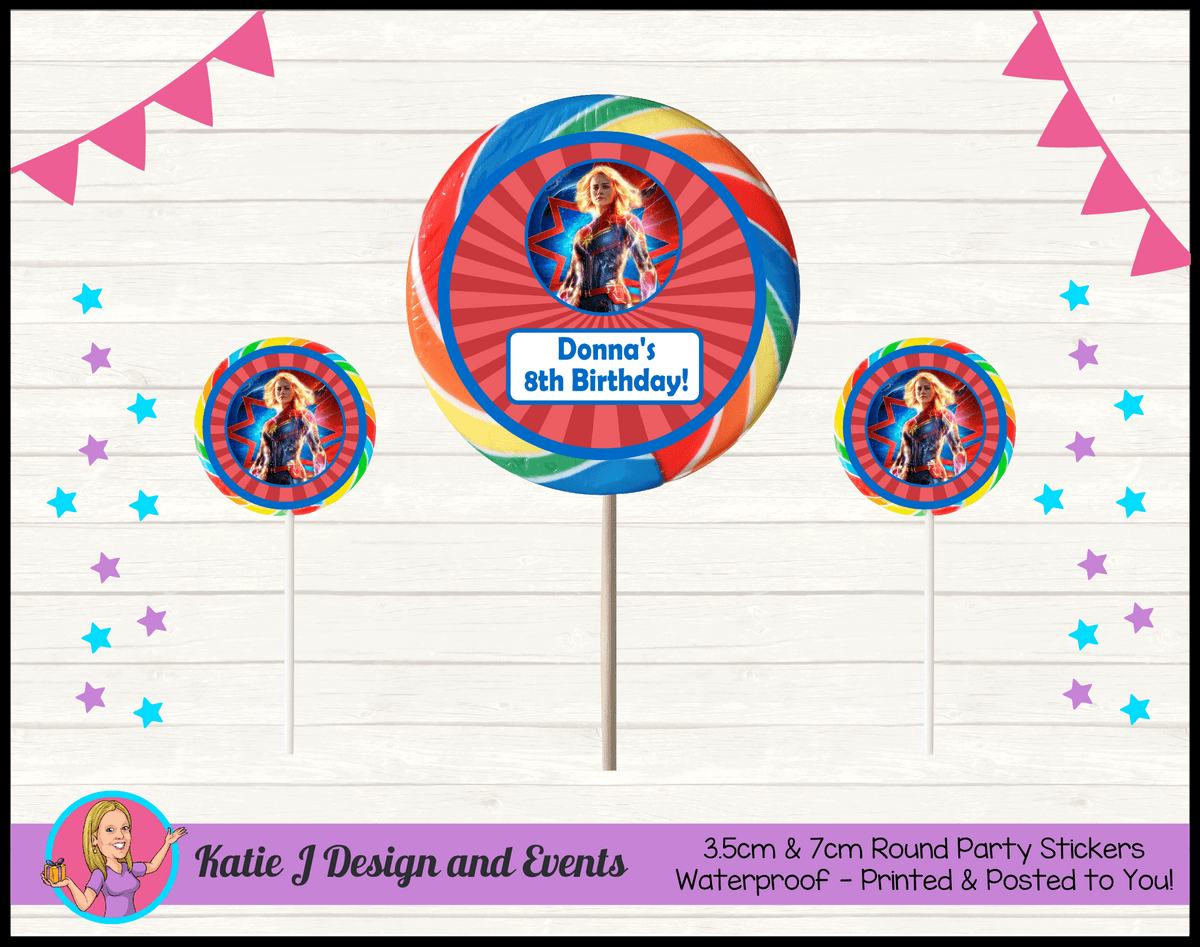 Personalised Captain Marvel Birthday Party Round Lollipop Stickers