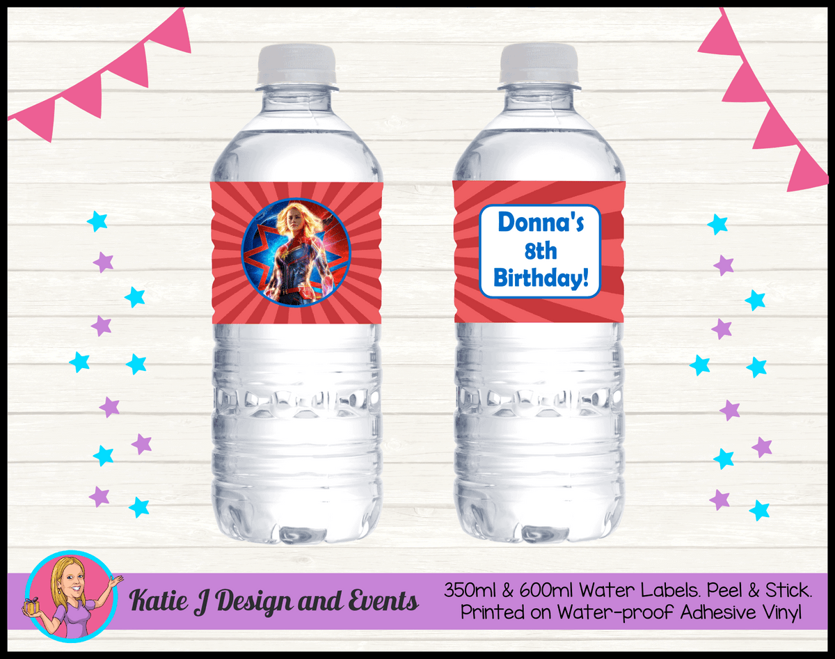 Personalised Captain Marvel Birthday Party Water Bottle Labels