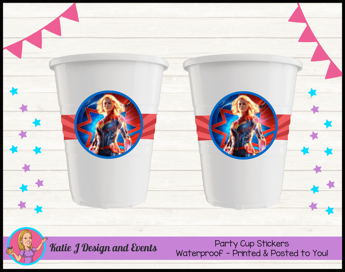 Personalised Captain Marvel Birthday Party Cup Stickers Cups