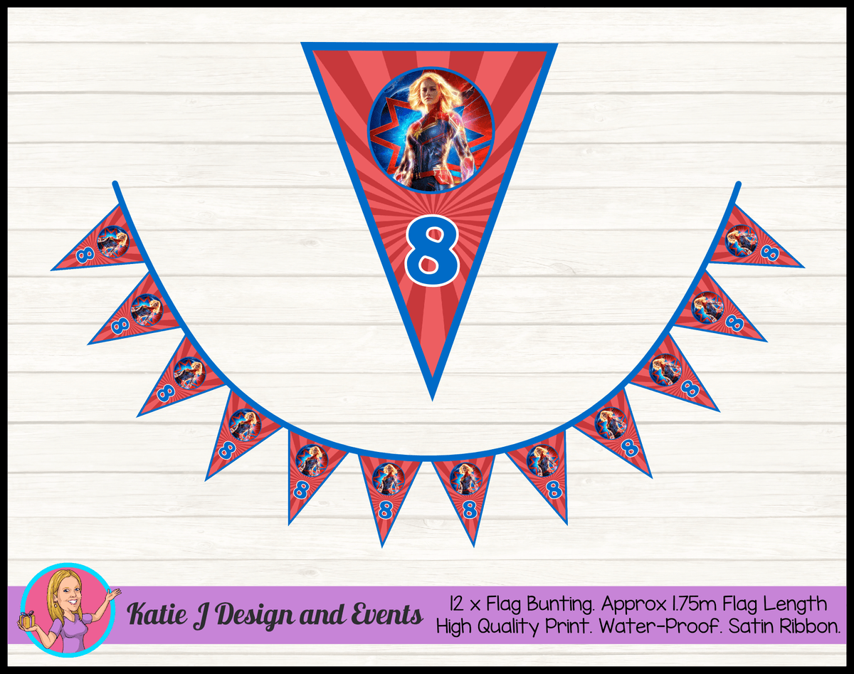 Personalised Captain Marvel Birthday Party Flag Bunting