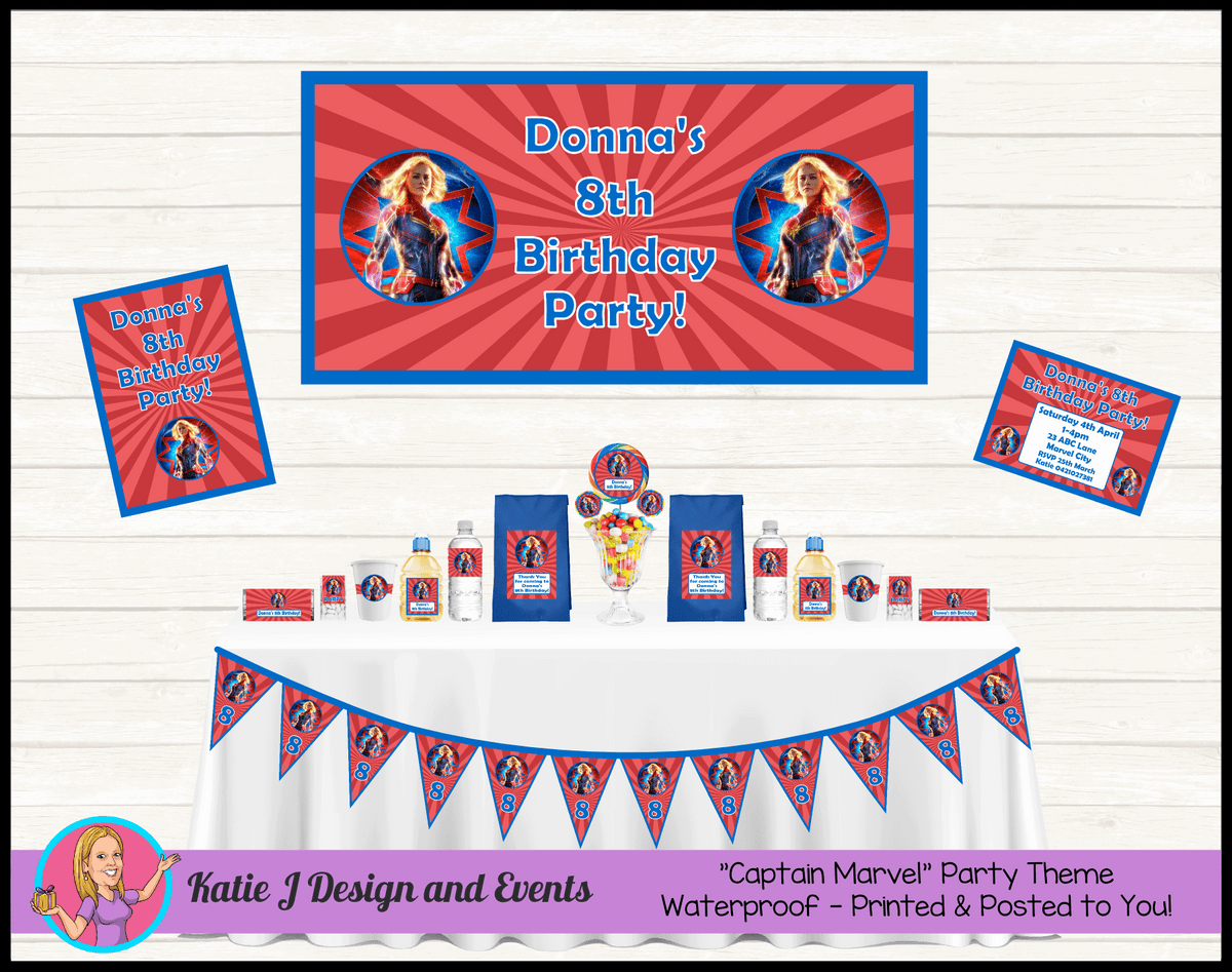 Personalised Captain Marvel Party Packs Decorations Supplies