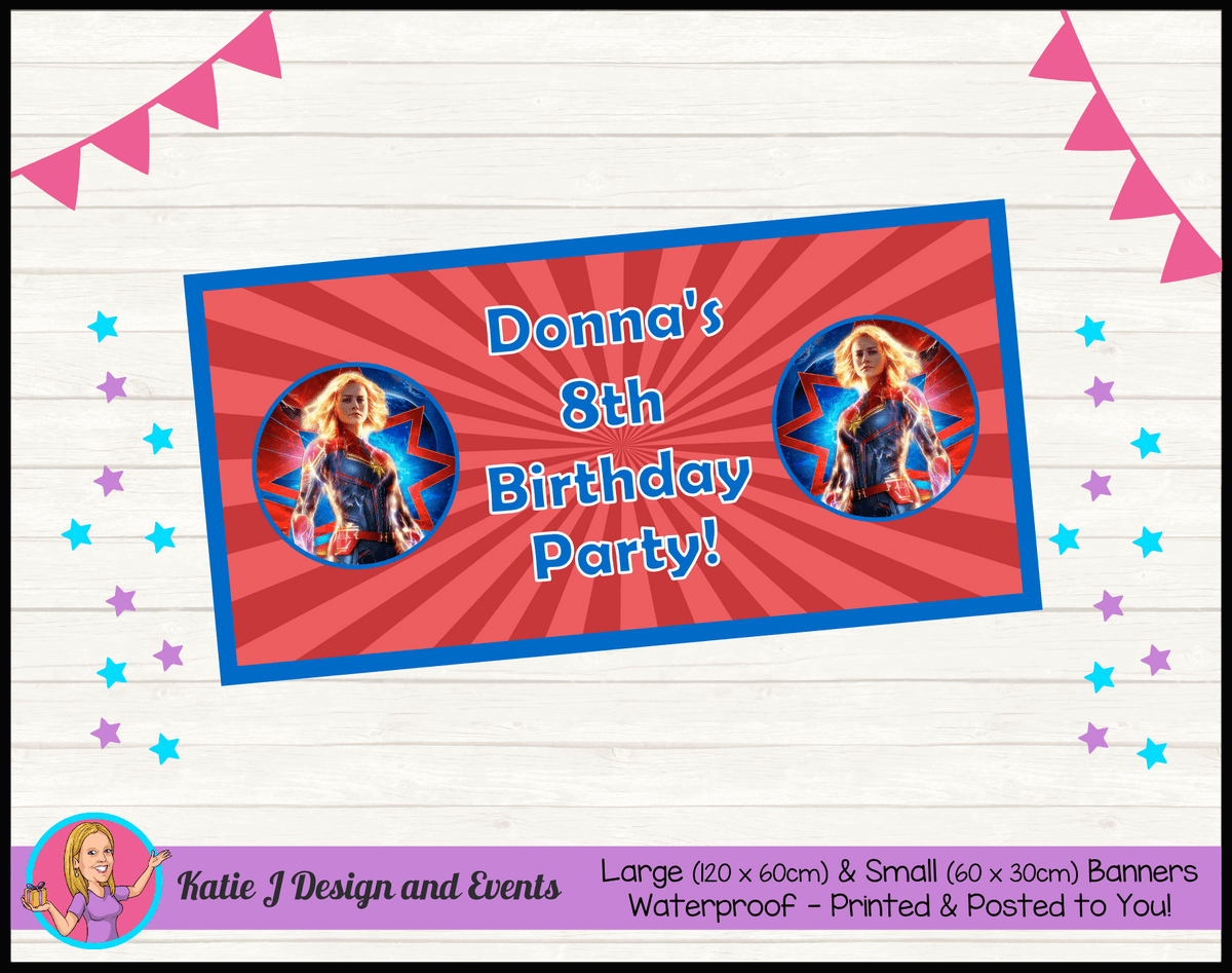 Personalised Captain Marvel Birthday Party Banner